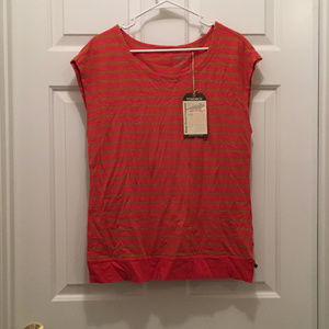 NWT Toad & Co Women's Striped Orange T-Shirt Small